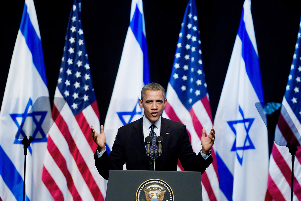. U.S. President Barack Obama speaks to Israeli students at the International Convention Center on March 21, 2013 in Jerusalem, Israel.  (Photo by Uriel Sinai/Getty Images)