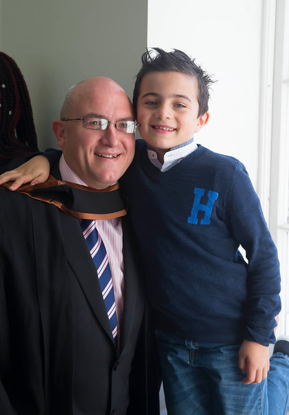 WIT (Waterford Institute of Technology) conferring ceremony at WIT College Street Campus, Waterford. Pictured is Graduate Michael Ryan, Fermoy, Co. Cork with his son Billy. Picture: Patrick Browne