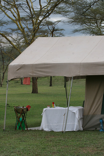 The front patio of each tent also had a washing area