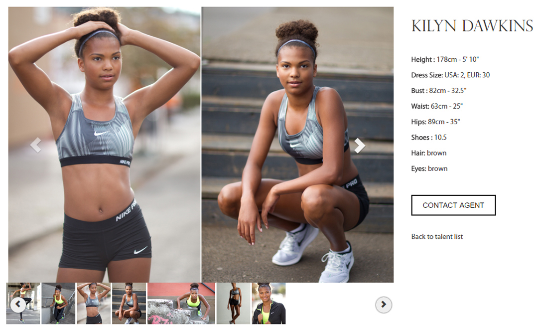 two model portfolio images on fitness agency webpage