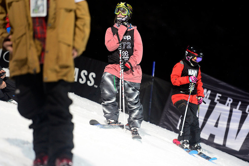 . ASPEN, CO. - JANUARY 24: Megan Gunning waits for her run during warmup for the women\'s ski superpipe final. X Games Aspen Buettermilk Mountain Aspen January 25, 2013 (Photo By AAron Ontiveroz / The Denver Post)