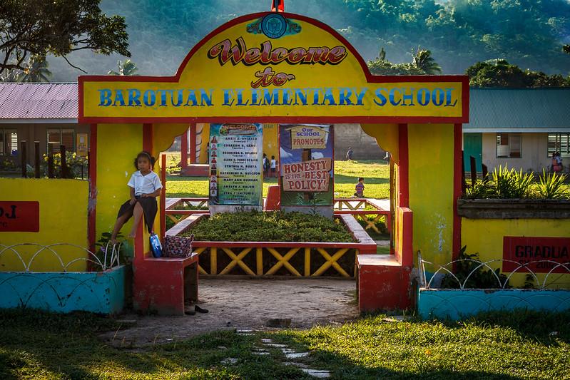 Colorful life scene in a rural elementary school around El Nido.