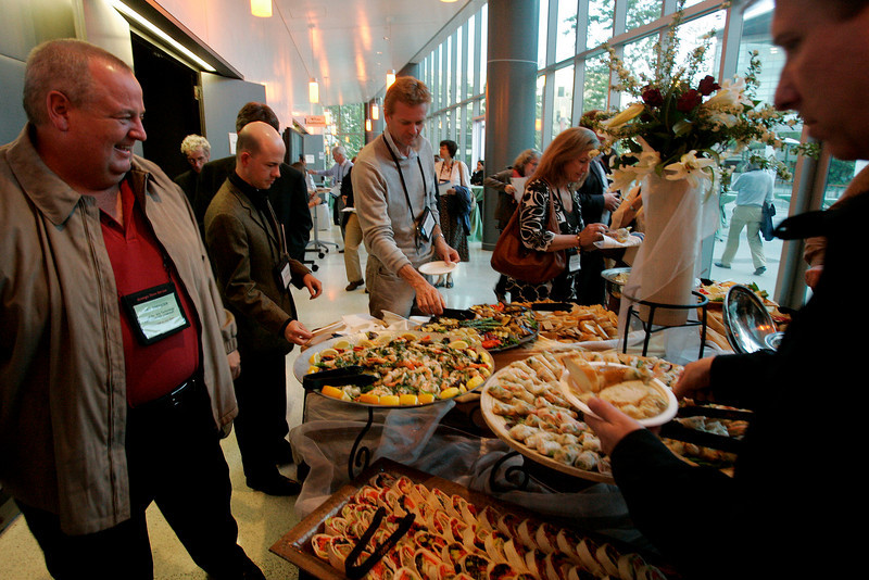 Tour of Next-Generation Visualization and Networking Facilities, Calit2, UCSD - where the food is also superb: [foreground, L-R] Bill Spencer, Max Chertoff, Thorgeir Einarsson, and Kelly Ireland
