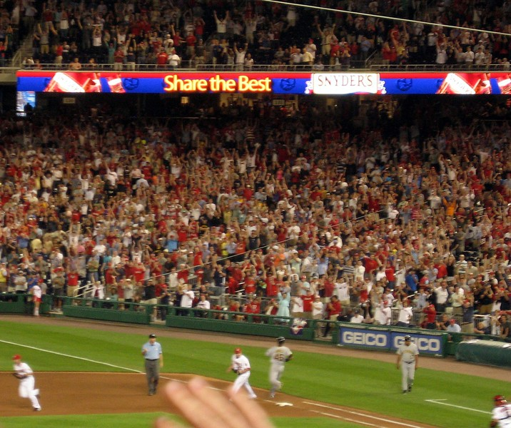 Fans cheer the final out of the game, which lasted only 2 hours and 19 minutes