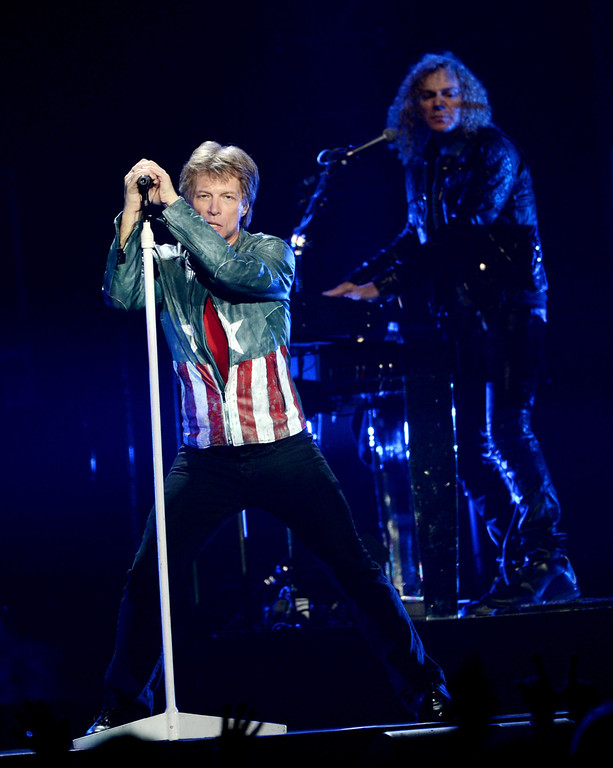 . LOS ANGELES, CA - APRIL 19:  Singer Jon Bon Jovi of the band Bon Jovi performs at The Staples Center on April 19, 2013 in Los Angeles, California.  (Photo by Kevin Winter/Getty Images)