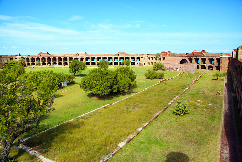 Broad view of the vast space inside Fort Jefferson
