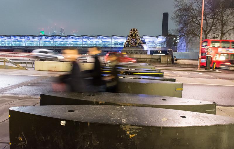 Security barriers on Blackfriars Bridge
