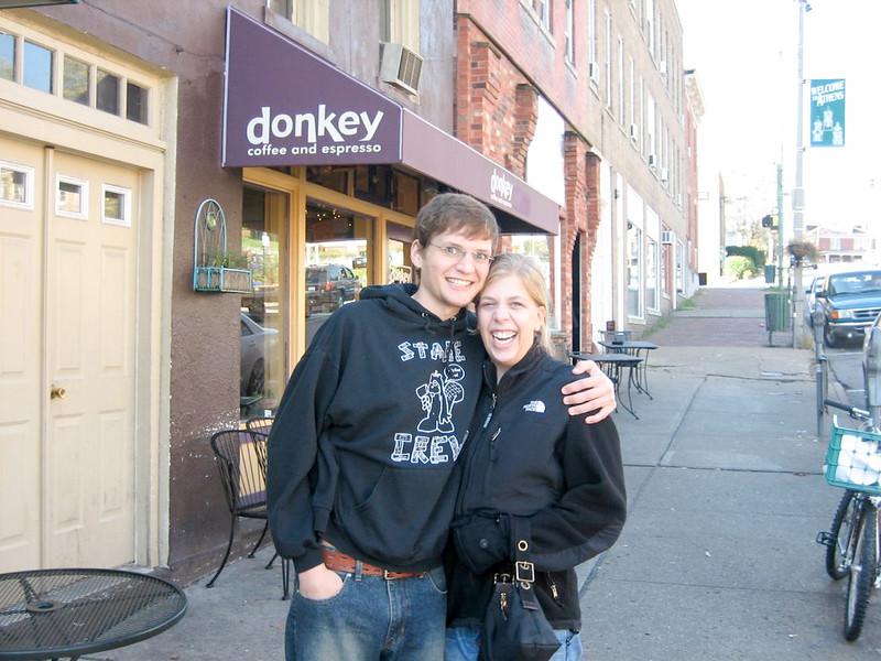 Michael & Kara outside Donkey coffee.