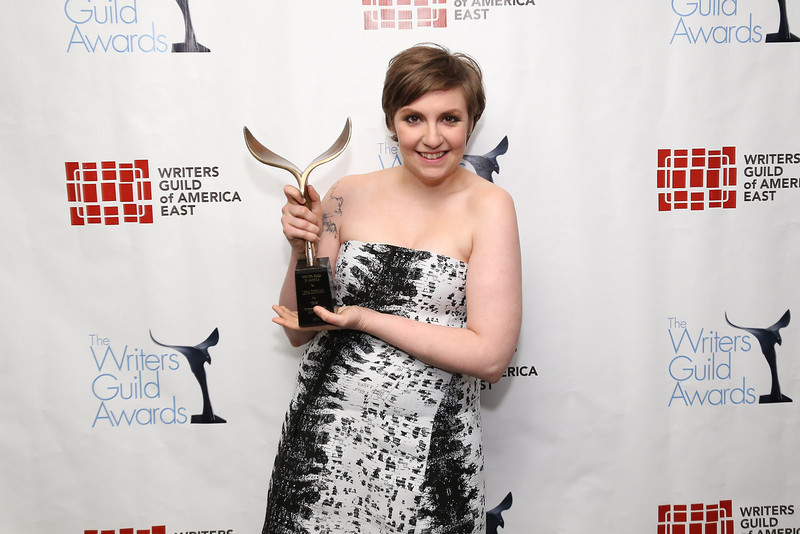 . Filmmaker Lena Dunham poses backstage at the 65th annual Writers Guild East Coast Awards at B.B. King Blues Club & Grill on February 17, 2013 in New York City.  (Photo by Neilson Barnard/Getty Images)
