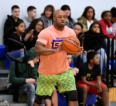 4/5/2019 Mike Orazzi | Staff Brenden Grasshopper Floyd during Friday's Bristol's All Star Basketball Game held at the Boys & Girls Club of Bristol Family Center on West Street.