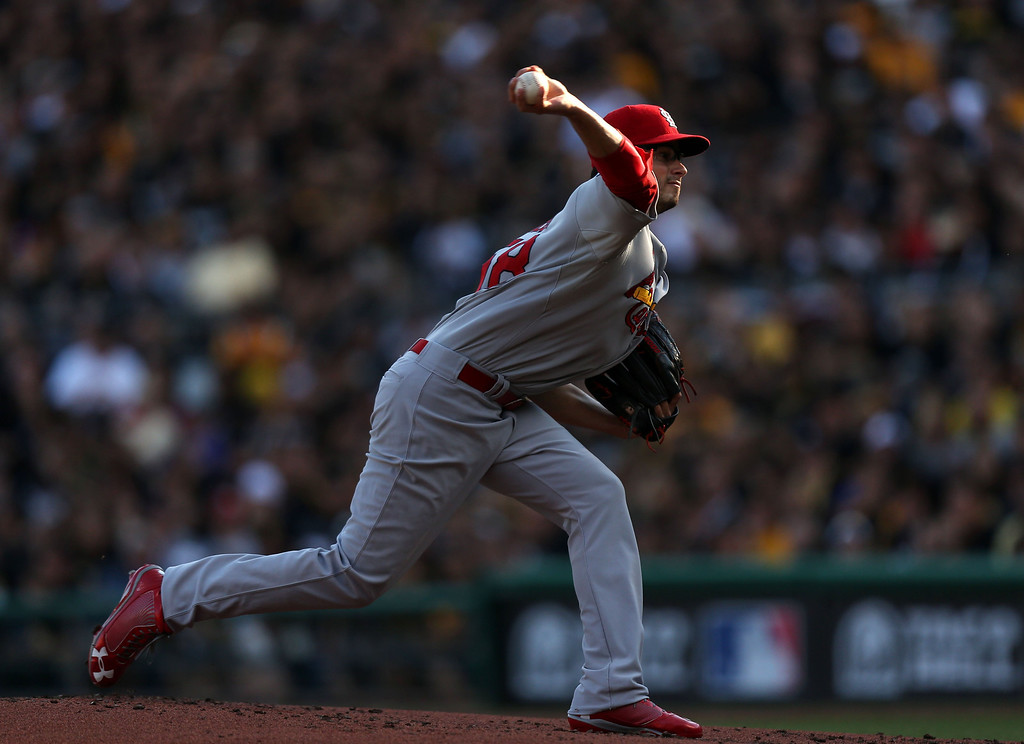 . Joe Kelly of the St. Louis Cardinals pitches against the Pittsburgh Pirates during the first inning in Game 3 of the National League Division Series at PNC Park in Pittsburgh, Pennsylvania, on Sunday, October 6, 2013. (Huy Mach/St. Louis Post-Dispatch/MCT)