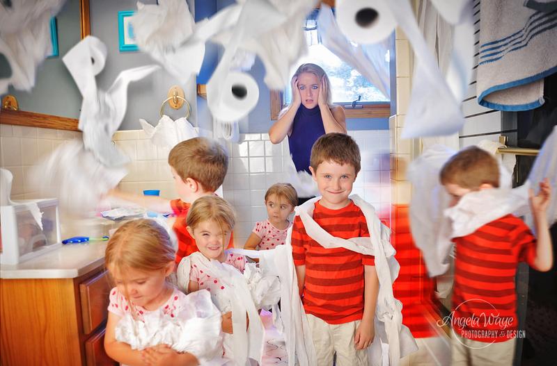 Stress Mother Watching Kids Make a Mess