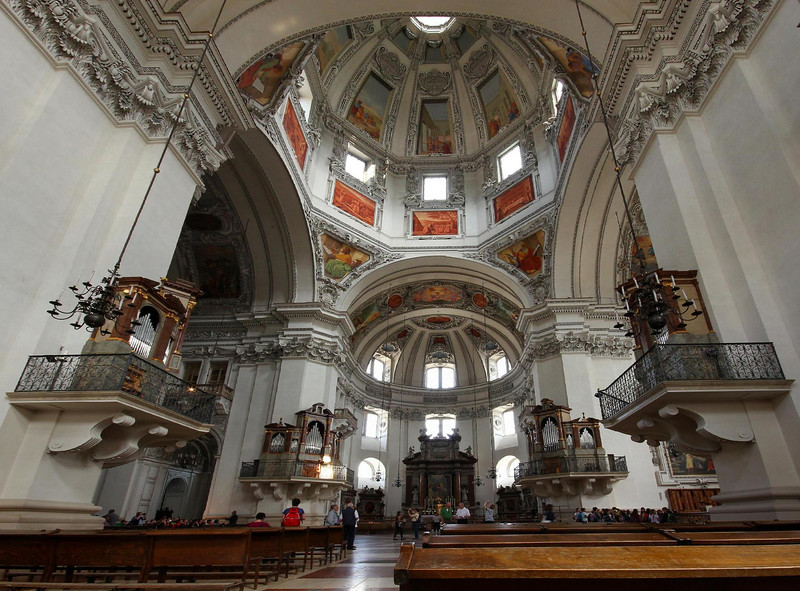 Salzburg Cathedral, Salzburg, Austria. This is a super wide angle achieved by stitching two side by side photos together.