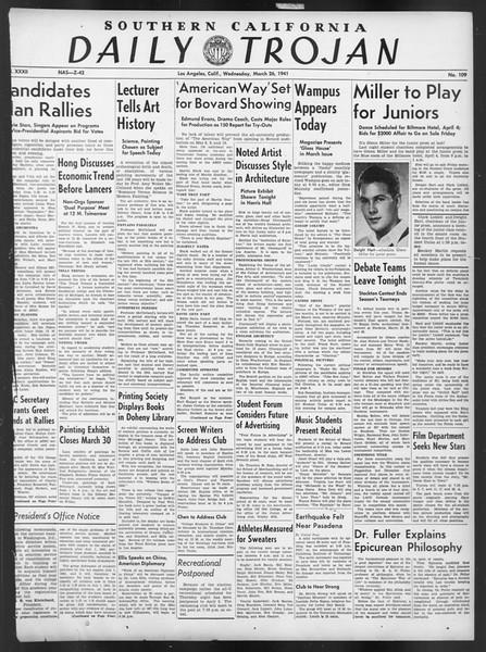 Daily Trojan, Vol. 32, No. 109, March 26, 1941
