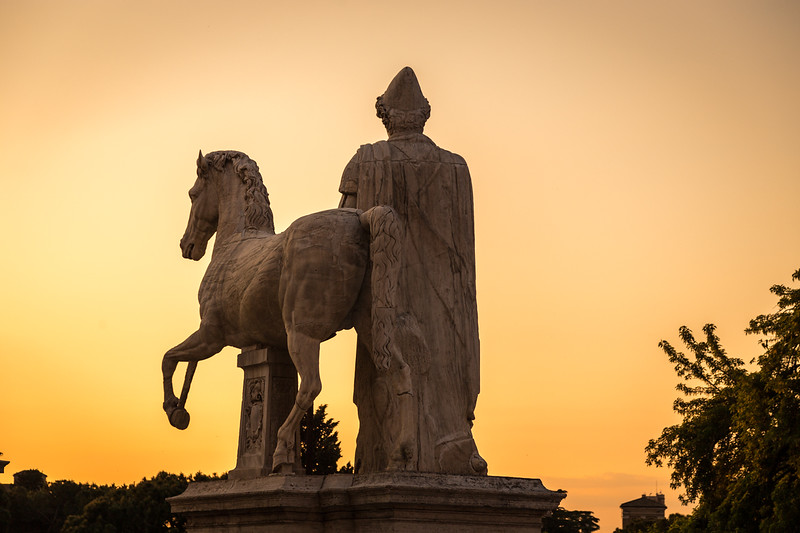 Capitoline Hill statue at sunset