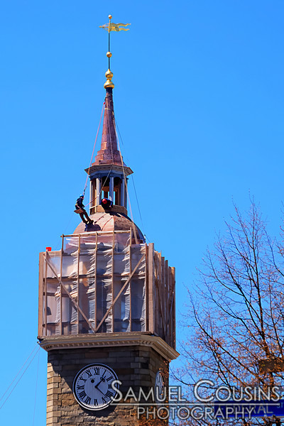Construction on the new steeple at the First Parish Church on Congress Street in Portland, Maine.