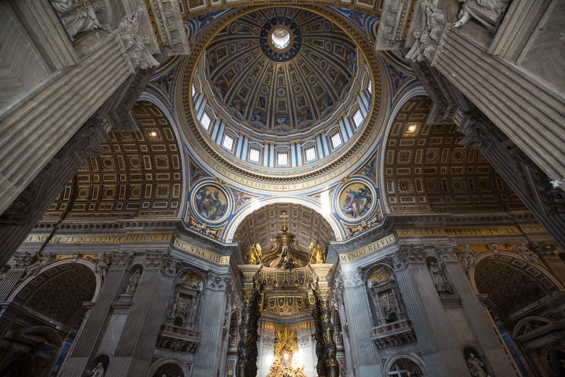 A view of the dome and top of the altar inside St. Peter's Basilica.