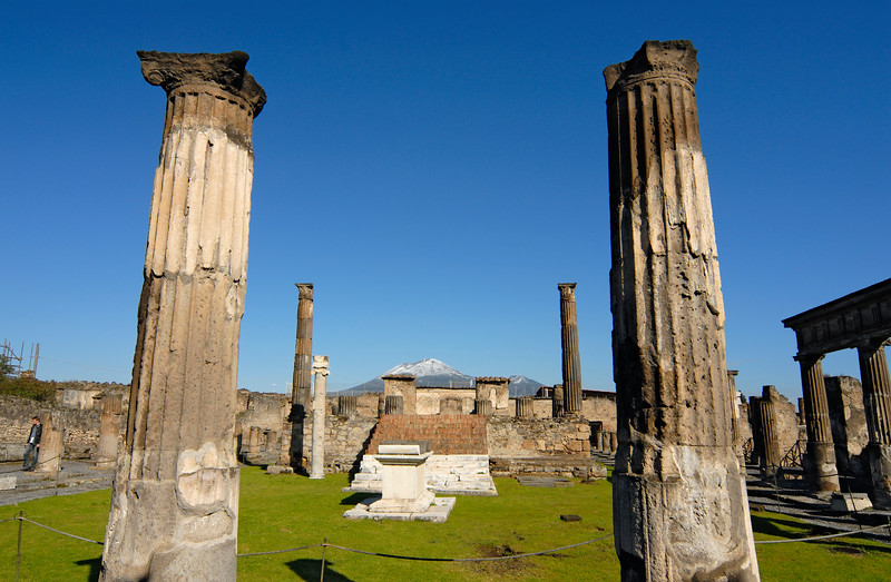 Temple of Apollo with Snow-Capped Mount Vesuvius Volcano in the Background, Pompeii (Italy)