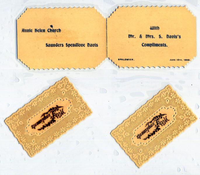1898 wedding cards Provided by Elizabeth Smith