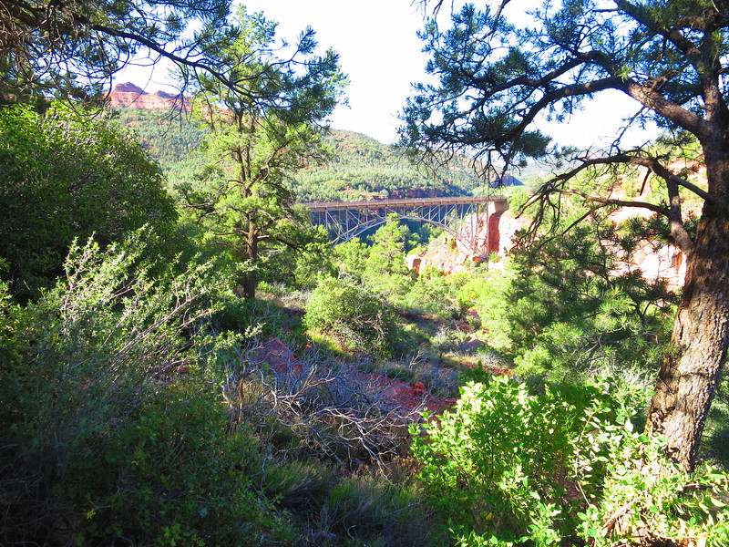 See, up the trail aways now, there's that bridge, which we'll continue to see from afar.