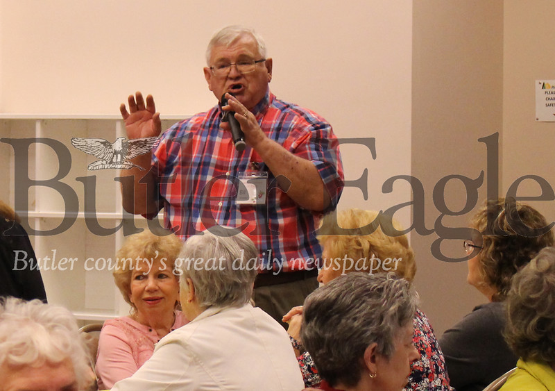 photo by Caleb Harshbergercranberry 55+; local; 0411; cut: Cranberry 55+ Club president Bill Shaner, pictured here speaking to the club at Tuesday's lunch celebrating the club's 48 years in the township.