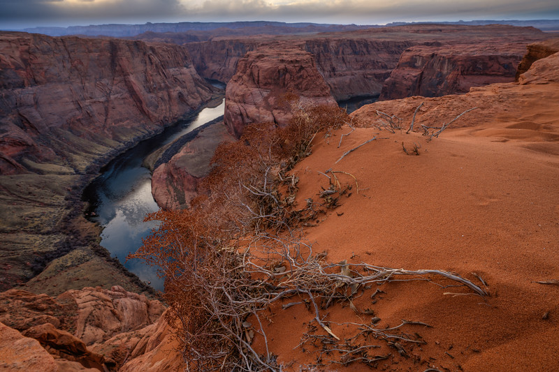 Storm Clouds and Sage Brush at Horseshoe Bend