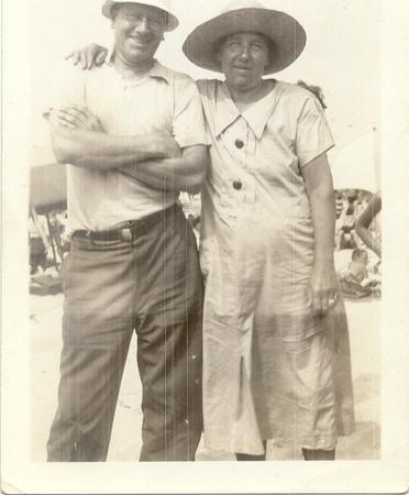 1937, July: Jim Brennan Sr, Freda Pupke Hampton.  Riis Park.