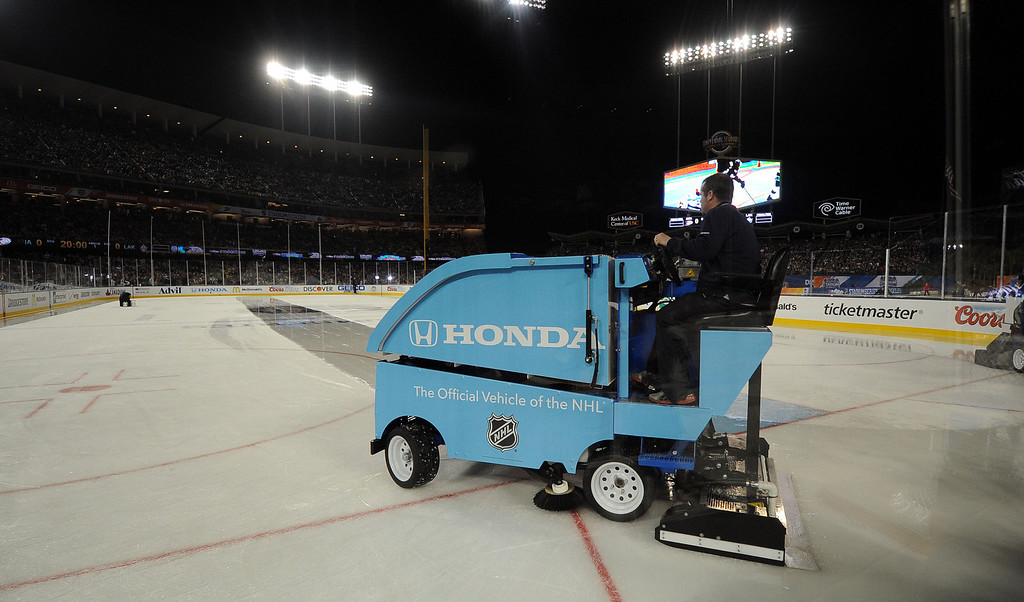 . The zamboni cleans-up the ice in between the first and second period of the inaugural NHL Stadium Series game between the Anaheim Ducks and The Los Angeles Kings at Dodger Stadium in Los Angeles on Saturday, Jan. 25, 2014. (Keith Birmingham Pasadena Star-News)