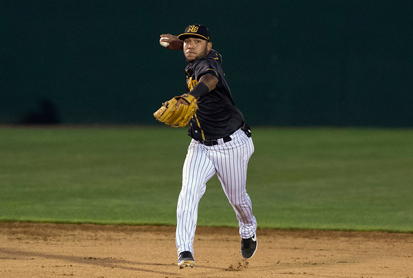 06/21/19 Wesley Bunnell | Staff The New Britain Bees defeated the Sugarland Skeeters 6-1 on June 21, 2019. Alexi Amarista (2) fields and throws to first for the out.