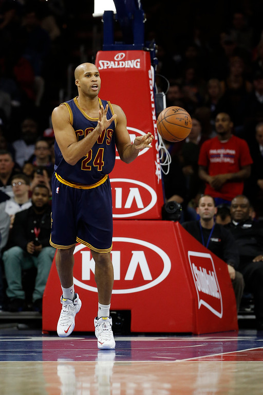 . Cleveland Cavaliers\' Richard Jefferson in action during an NBA basketball game against the Philadelphia 76ers, Sunday, Jan. 10, 2016, in Philadelphia. (AP Photo/Matt Slocum)