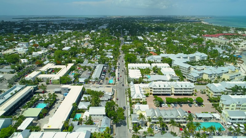 Aerial footage South Street Key West Florida shot with drone