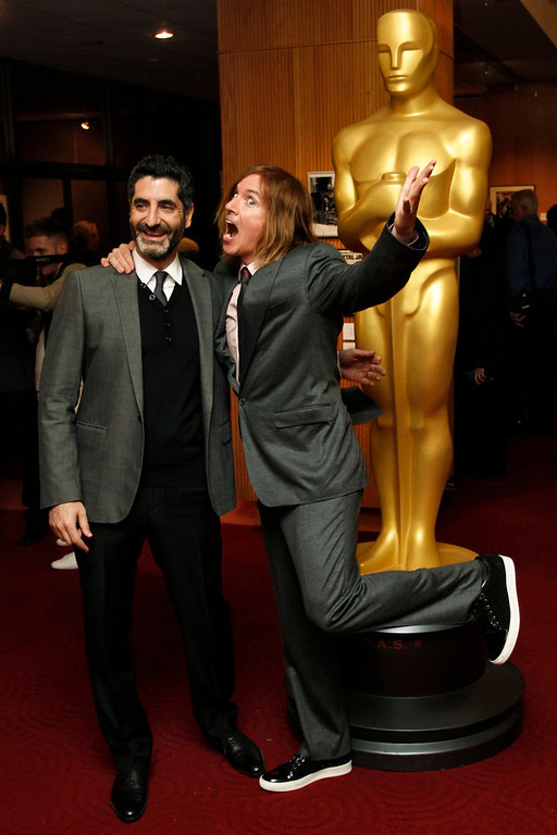 """. Mino Jarjoura (L) and Bryan Buckley, filmmakers of the Live-Action Short Film nominee \""""Asad\"""", arrive at Oscar Celebrates: Shorts, featuring this year\'s Oscar-nominated films in the Animated and Live-Action Short Film categories at the Academy of Motion Picture Arts and Sciences in Beverly Hills, California, February 19, 2013. REUTERS/Jonathan Alcorn"""