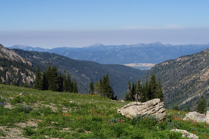 Looking down Fox Creek toward Teton Valley and the Big Hole Mountains.  Notice the layer of smoke settling above our Idaho neighbors.