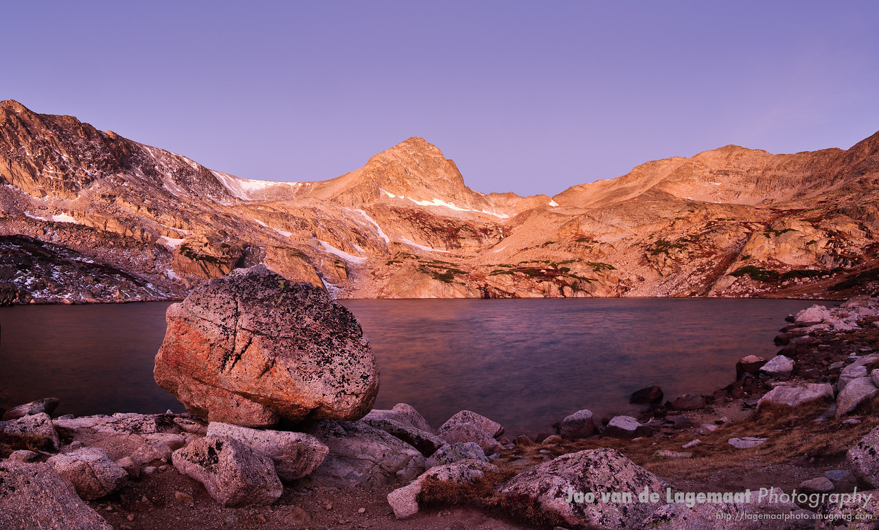 Blue Lake in purple shades right before sunrise