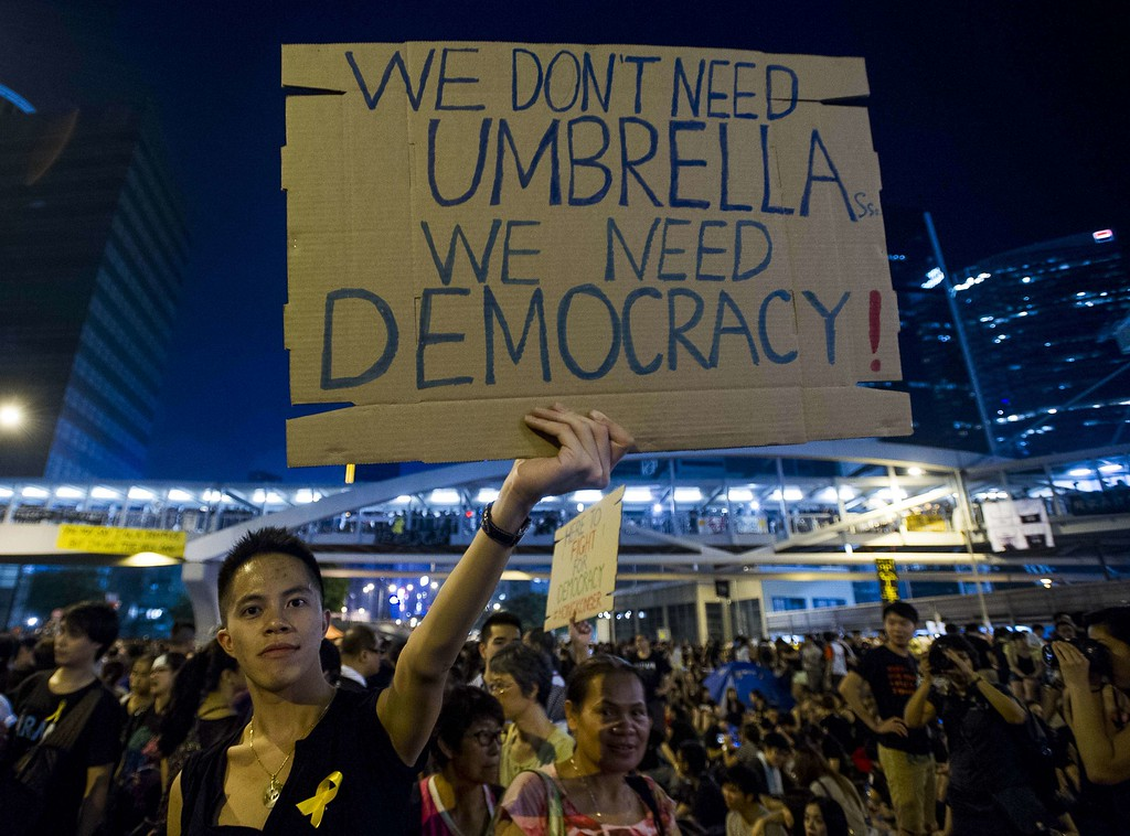 . Pro-democracy protestors gather in the Admiralty district of Hong Kong on October 1, 2014.   Hong Kong has been plunged into the worst political crisis since its 1997 handover as pro-democracy activists take over the streets following China\'s refusal to grant citizens full universal suffrage. XAUME OLLEROS/AFP/Getty Images