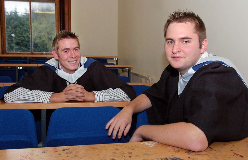 Provision 251006 Sean O'Neill (Waterford) and Dean Goodison (Wexford) relax before their graduation ceremony in WIT on Wednesday 25th October.  Both graduated with BAs in Legal Studies in Interntional Trade. PIC Bernie Keating/Provision