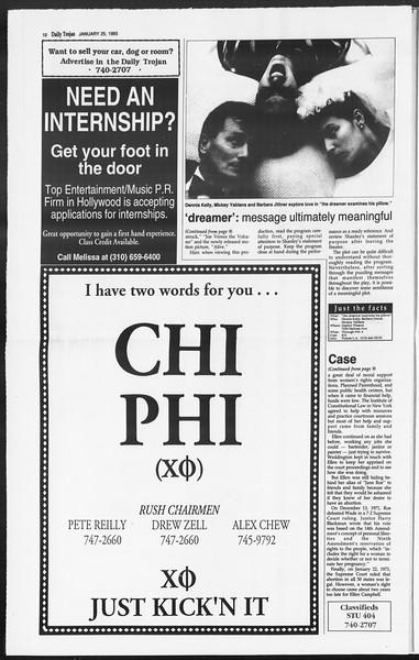 Daily Trojan, Vol. 119, No. 8, January 25, 1993