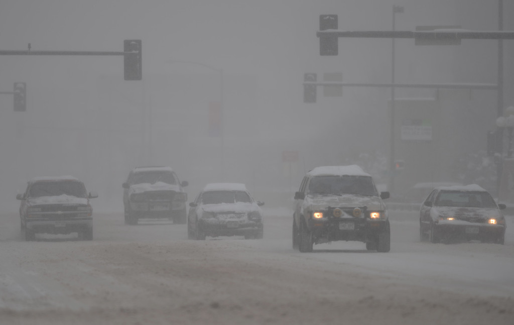 . DENVER, CO. - MARCH 23: Heavy snow continues to fall in the Denver area. Denver, Colorado. March 23, 2013. (Photo By Hyoung Chang/The Denver Post)