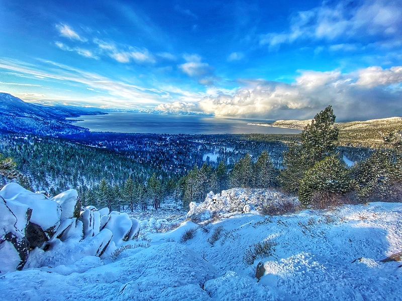 Lake Tahoe View from Mt. Rose with snow in the foreground