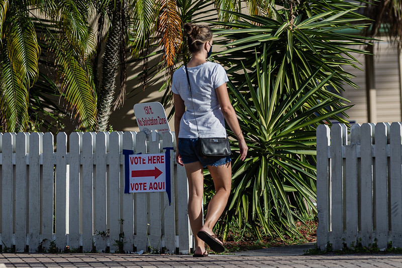 There were no voting lines at the Faith Farm Tabernacle on Election Day, in Boynton Beach on U.S. 441, November 3, 2020. Voters were in and out in under 10 minutes. (JOSEPH FORZANO / THE PALM BEACH POST)