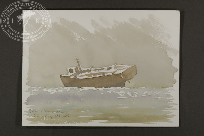"""Mining barge wreck in Skansbukta   5.9.2018   """"I want to convey what I see with immediacy and simplicity to make the viewer feel present on the Arctic scene.""""   Måns Sjöberg."""