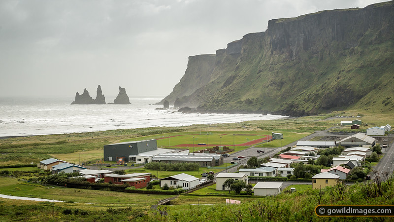 Vík township and the windswept coast below Reynisfjall