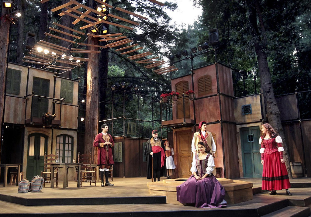 ". The cast of ""The Taming of the Shrew\"" shines during dress rehearsal on the Shakespeare Santa Cruz stage. SSC will also be staging \""Henry V\"" and \""Tom thumb\"" this season. (Shmuel Thaler/Sentinel file)"