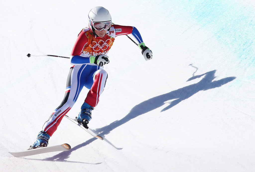 . Marie Marchand-Arvier of France in action during the Women\'s Downhill race at the Rosa Khutor Alpine Center during the Sochi 2014 Olympic Games, Krasnaya Polyana, Russia, 12 February 2014.  EPA/KARL-JOSEF HILDENBRAND