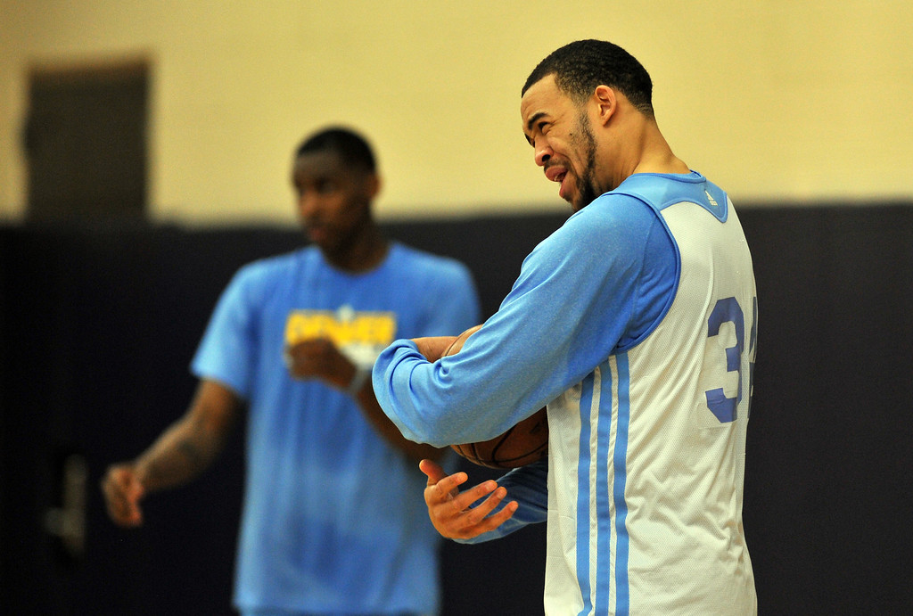. DENVER, CO. - APRIL 18 : JaVale McGee of Denver Nuggets is in the team practice for the 1st round of playoff game against Golden State Warriors at Pepsi Center. Denver. Denver, Colorado. April 18, 2013. (Photo By Hyoung Chang/The Denver Post)