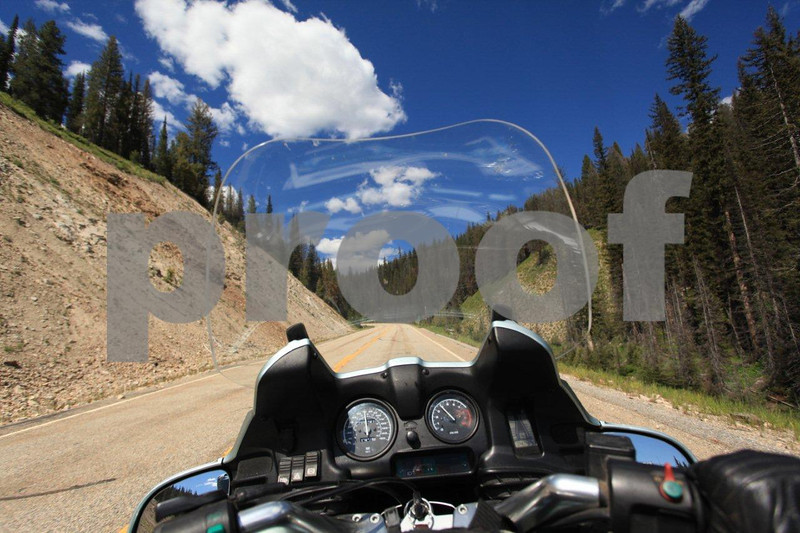 The view from the rider's seat while riding in Idaho.