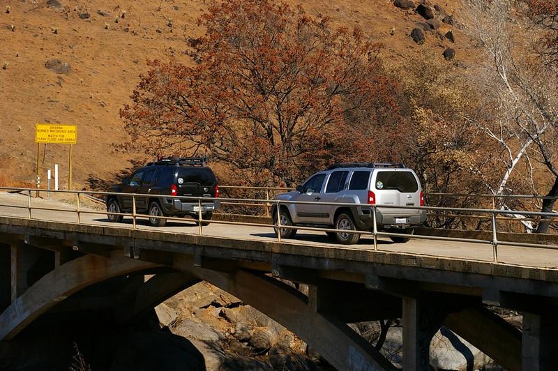 Our Xterras on the bridge.