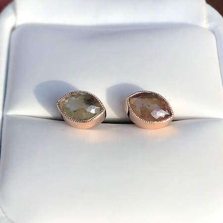Rustic Rose Cut Diamond Studs