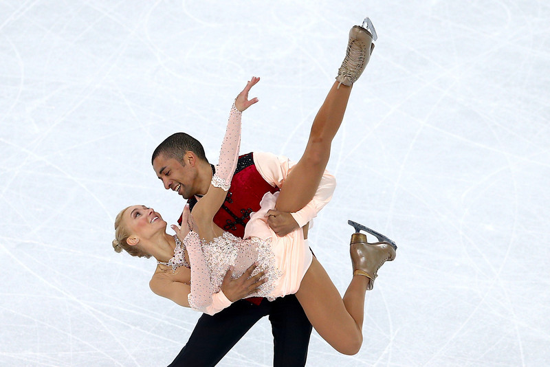 . Aliona Savchenko and Robin Szolkowy of Germany compete in the Figure Skating Pairs Free Skating during day five of the 2014 Sochi Olympics at Iceberg Skating Palace on February 12, 2014 in Sochi, Russia.  (Photo by Clive Mason/Getty Images)