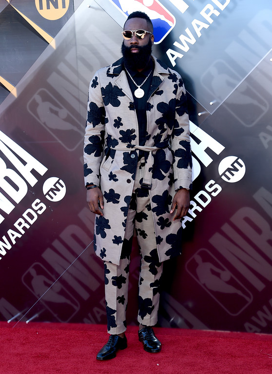 . NBA player James Harden, of the Houston Rockets, arrives at the NBA Awards on Monday, June 25, 2018, at the Barker Hangar in Santa Monica, Calif. (Photo by Richard Shotwell/Invision/AP)